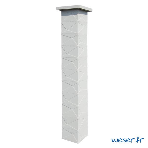 Kit un pilier de clôture complet PRISME LIGHT largeur 29 cm - PPRISMELIGHT29CPLB- Blanc cassé