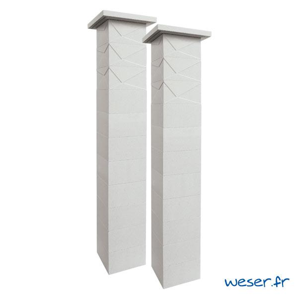Kit deux piliers de clôture complets PRISME SIMPLE TOUCH largeur 29 cm - PPRISMESIMP29CPLB- Blanc cassé