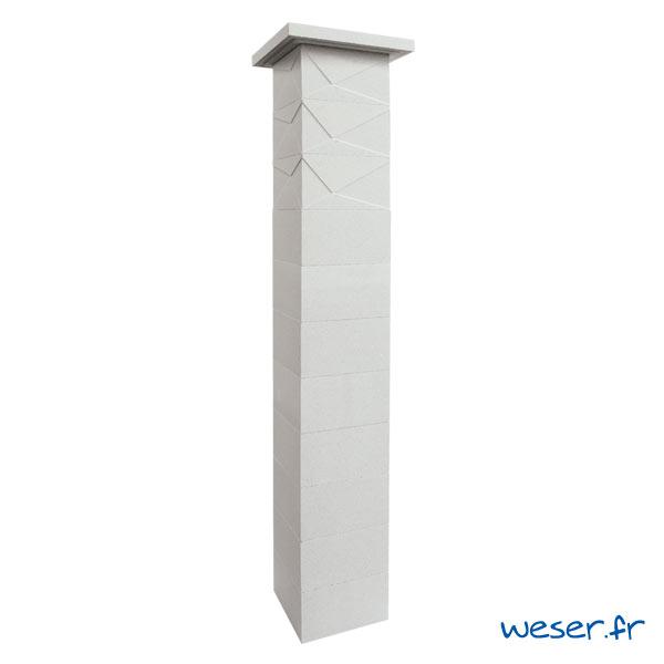 Kit un pilier de clôture complet PRISME SIMPLE TOUCH largeur 29 cm - PPRISMESIMP29CPLB- Blanc cassé