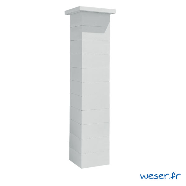 Kit d'un pilier de clôture complet STEEL'IN LIGHT largeur 39 cm - PSTEELLIGHT39CPLB - Blanc cassé