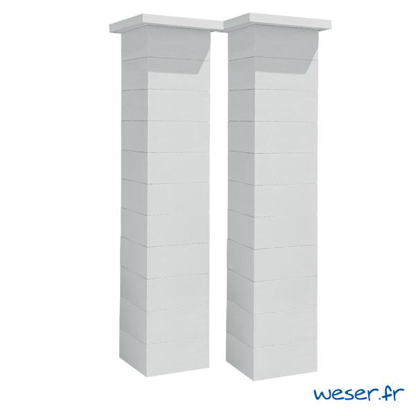 Kit deux piliers de clôture complets STEEL'IN LIGHT largeur 39 cm - PSTEELLIGHT39CPLB - Blanc cassé