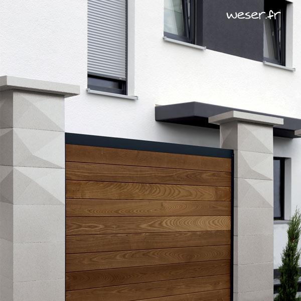 Kit piliers de clôture complets TRIGONE SIMPLE TOUCH largeur 29 cm - PTRIGONESIMP29CPL2B - Blanc cassé
