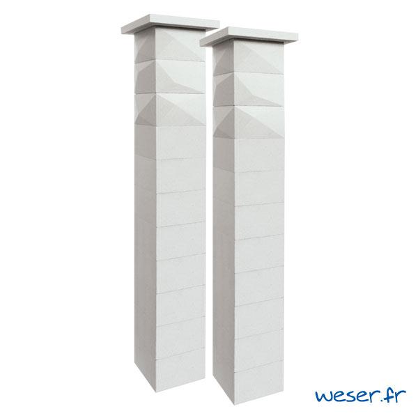 Kit deux piliers de clôture complets TRIGONE SIMPLE TOUCH largeur 29 cm - PTRIGONESIMP29CPL2B - Blanc cassé