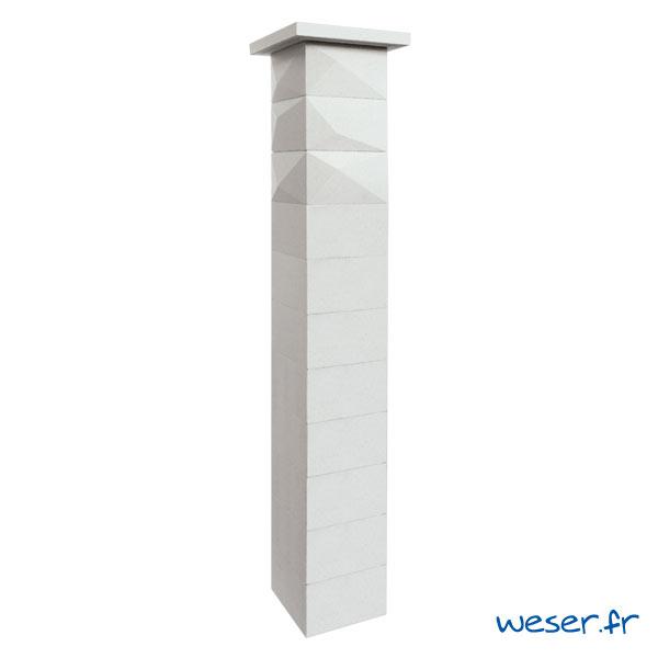 Kit un pilier de clôture complet TRIGONE SIMPLE TOUCH largeur 29 cm - PTRIGONESIMP29CPL2B - Blanc cassé