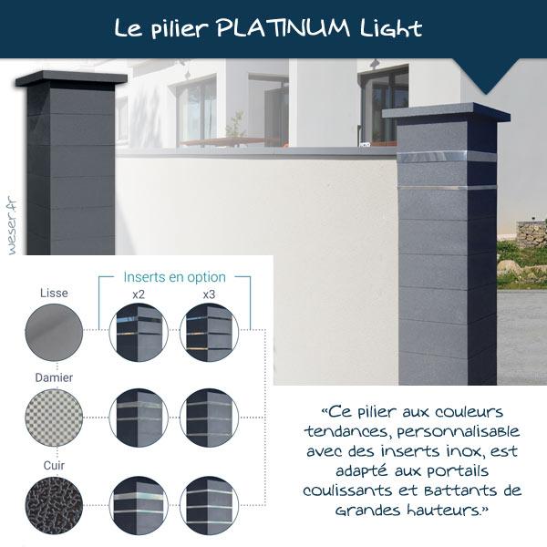 Nouveautés 2021 - Pilier de clôture PLATINUM Light