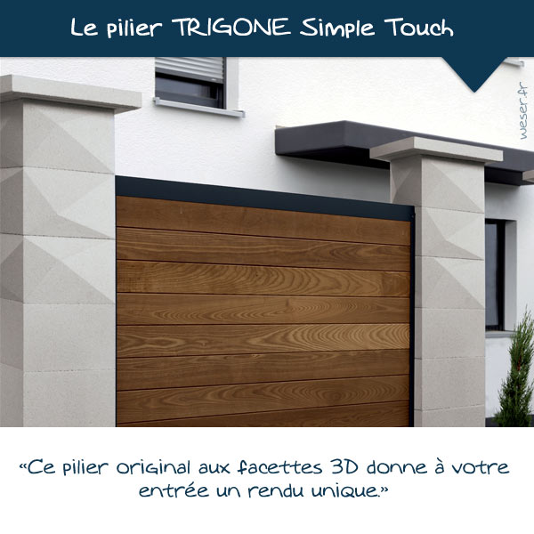 Nouveautés 2021 - Pilier de clôture TRIGONE Simple touch