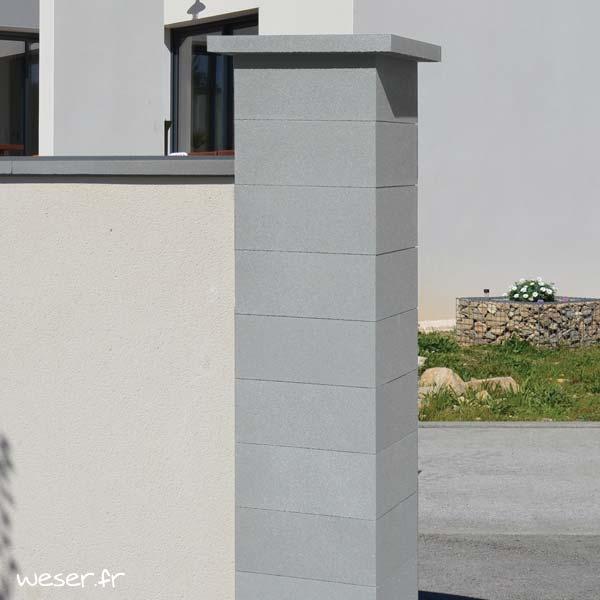 Chapeau Plat pour pilier de clôture - largeur 50 - Gris