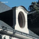 Lucarne Ovale et corniche Doucine Weser - en pierre reconstituée compactée - Coloris Blanc cassé