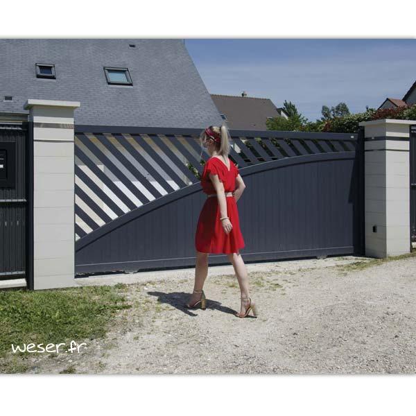 Pilier de clôture ou de portail Steel'in Light Weser - 2 inserts Lisses - Blanc cassé
