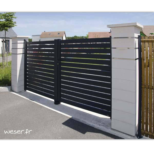 Pilier de clôture ou de portail Steel'in Light Weser - 3 inserts Lisses - Blanc cassé